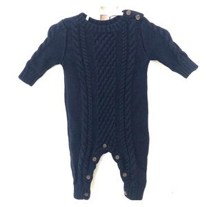 Navy cable knit sweater one piece